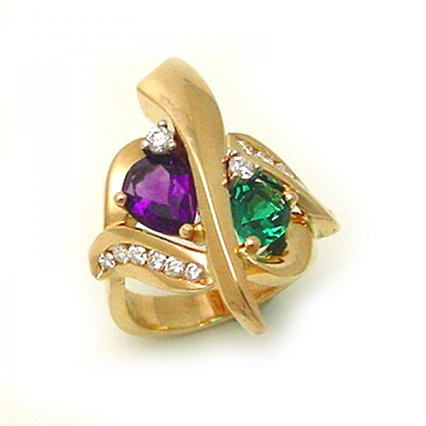 amethyst and emerald ring tamron jewelry