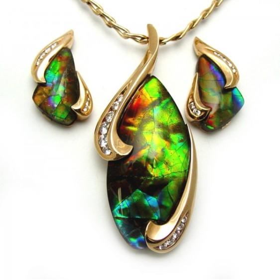Rare Ammolite Earring And Pendant Set Tamron Jewelry