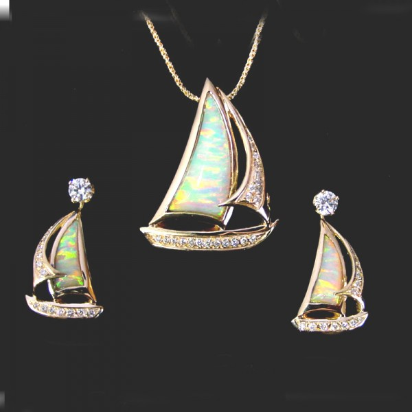 Opal And Diamond Sailboat Pendant And Earring Jacket Set
