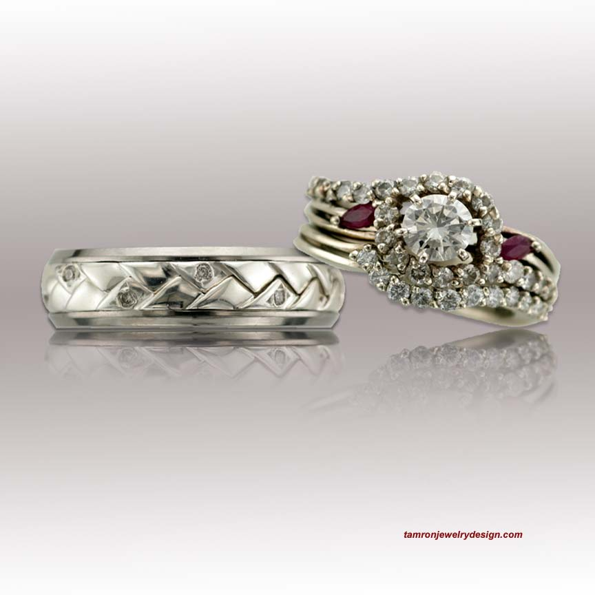 Diamond And Ruby Wedding Rings Tamron Jewelry